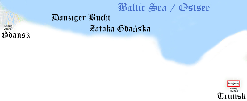 coast Baltic Sea Gdansk Milejewo, formerly Trunsk (map cut)