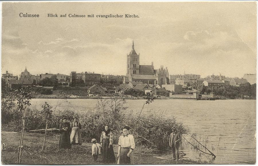 1914 Blick auf Culmsee mit evangelischer Kirche, view onto Protestant church at lake's shore